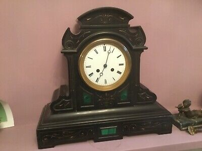 Victorian black marble mantel clock, inset with green malachite