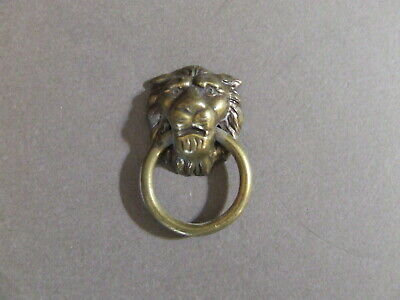 Vintage Brass Lion Head Drawer Pull Door Knocker Marked 888