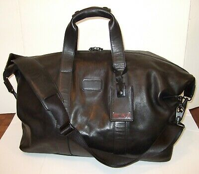 Tumi Alpha Black Napa Leather Satchel Duffel Bag Carry-On – Gorgeous!