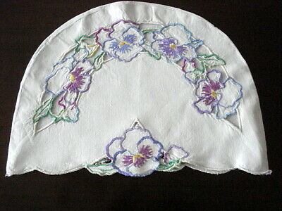 "Lovely Vintage TEA COZY~TEAPOT COVER~Hand Emb/Cutwork Floral  ""Off White"" LINEN"