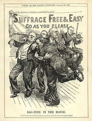 """VINTAGE BRITISH POLITICAL CARTOON: """"Suffrage free and Easy, Go as you Please"""""""