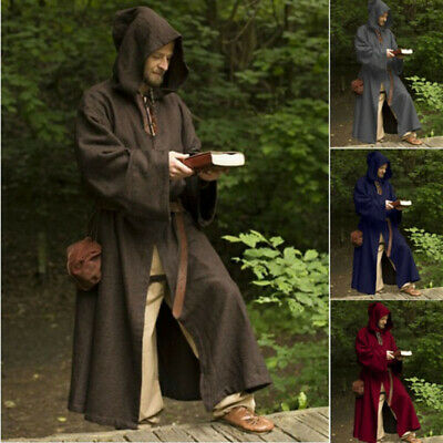 Medieval Renaissance Men Retro Knight Long Sleeve Gown Hooded Top Robe Costume