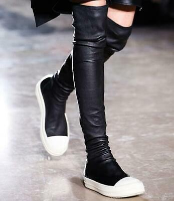 punk women sexy over knee long boots genuine leather flat heel fashion shoes A57