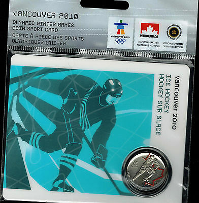2007(2010-VANCOUVER-Olympic-WINTER-GAMESColored -25-CENT UNC Hockey)