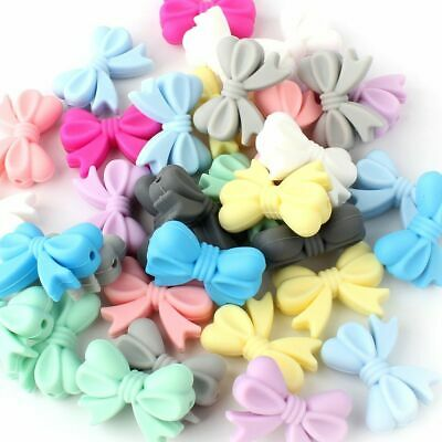 Bowknot Silicone Beads Teether DIY Baby Sensory Teething Chew Necklace Jewelry