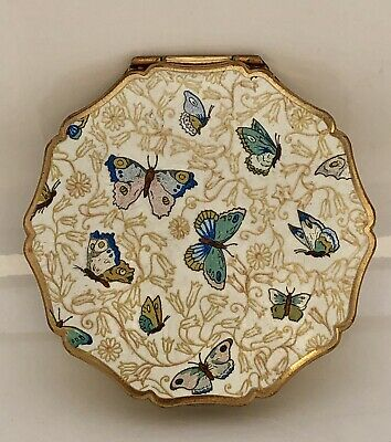 Vintage Stratton Make-Up Compact Gold w/Enamel Butterflies Made In England