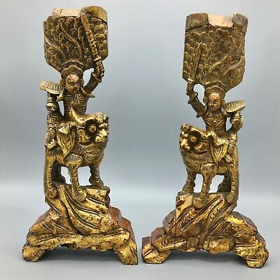 """Antique Chinese 12"""" Hand Carved Buddhist Temple Guardians Gold Lacquered"""