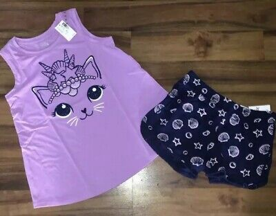 9df34557cf Justice Girls Size 8 Or 10 Cat Outfit Swingy Tank Top & Sea Shell Shorts  Outfit