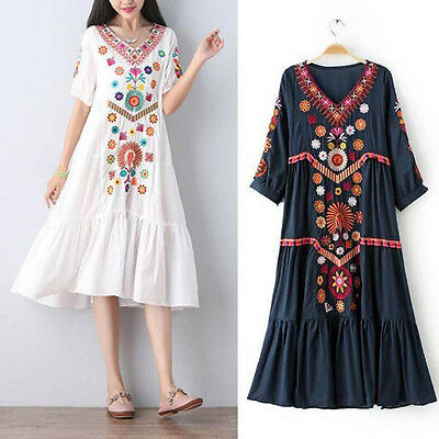 Hot Women Vintage Ethnic Mexican Embroidered Cotton Linen Long Boho Loose Dress
