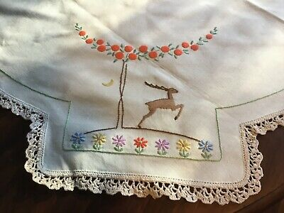 Vintage Embroidered Tablecloth Reindeers Leaping Christmas