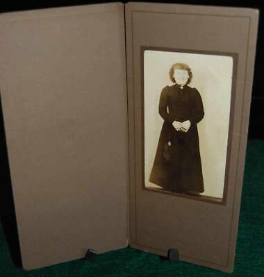 Antique Photo: Portrait Of Woman In Black, With Black Coin Purse And Ring