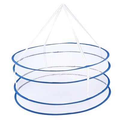 Drying Rack Folding Hanging Clothes Laundry Basket Dryer Net 2 layers X2H7