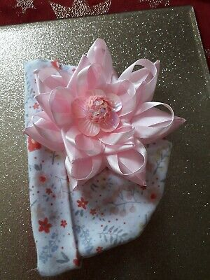 Romany Baby Girl Pink Sequined Flower  Big Satin Bow  Summer Hat 0 - 3 Mth