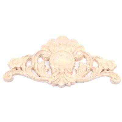 Exquisite Classic Rubber Wood Carved Flower Applique Furniture Natural M1T5