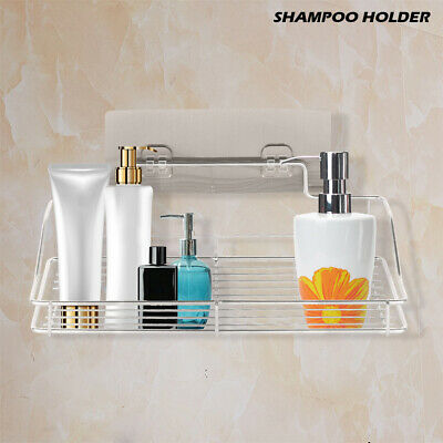 Stainless Steel Shelf Shower Basket Bathroom Wall Mounted Storage Rack Adhesive