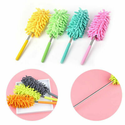 Telescopic Microfiber Feather Duster Extendable Clean Dust Home Office Tools DD