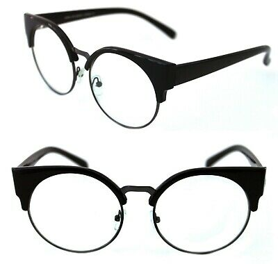 Women's Lucia Cat Eye Half Shell  Clear Lens Eye Glasses Soho Horn Rimmed Black