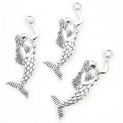 2X Antique Silver Tone Large Mermaid Charms Pendants Jewelry Making Findings DIY