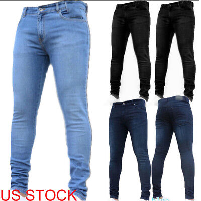 Mens Peviani Denim Super Stretch Skinny Slim Fit Jeans All Waist