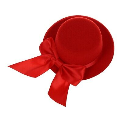 Ladies Mini Top Hat Fascinator Burlesque Millinery w/ Bowknot - Red E5W3