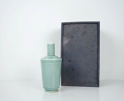 A Celadon Glazed Bottle Vase with a fitted box