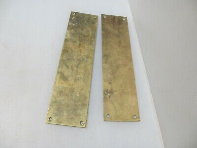 Vintage Solid Brass Door Handle Finger Push Plates Pair Old Antique