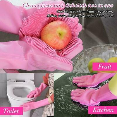 Multipurpose Magic Silicone Rubber Dish Washing Gloves Kitchen Bathroom Cleaning