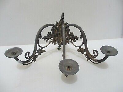 Victorian Brass Wall Light Sconce Antique Gilt Leaf Old Rococo Gothic Church