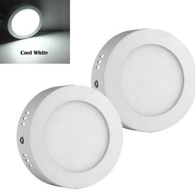 2 x 6W LED Panel Light Flat Ultra Slim Recessed Ceiling Down Round Cool White