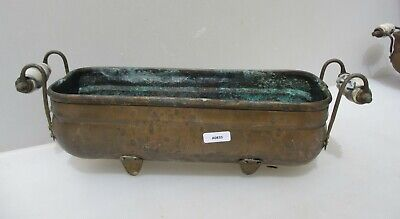 Vintage Copper Trough Tub Planter Plant Pot Antique Old Urn Brass Ceramic Handle