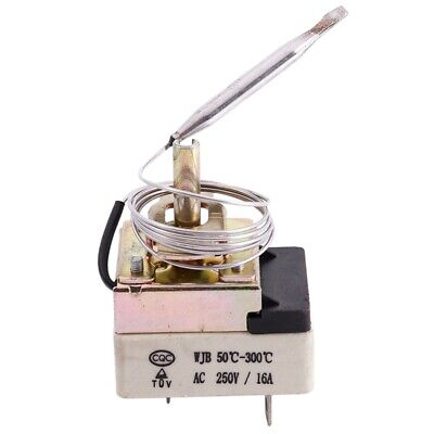 AC 16A 250V 50 to 300 Celsius Degree 3 Pin NC Capillary Thermostat for Elec W7D1