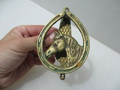Antique Brass Door Knocker Vintage Old Lucky Horse Shoe Riding Stallion Mare