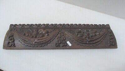 Victorian Carved Wooden Panel Plaque Wood Strip Antique Flower Fruit Drapes Old