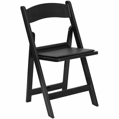 8 Black Folding Resin Chair Waterproof Vinyl Padded Seat Wedding Party Chairs