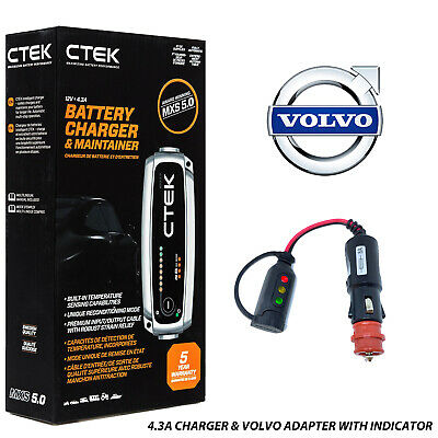 Battery Charger 4.3A - 7A & Custom Adapter for Volvo XC60