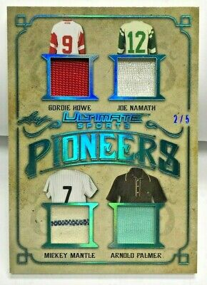 Mickey Mantle/Joe Namath/Gordie Howe/Arnold Palmer 2019 Leaf Ultimate Patch #d/5