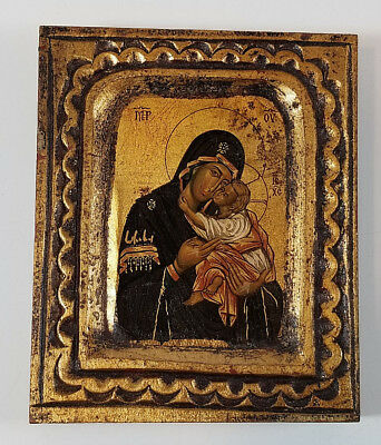 Handmade Byzantine Icon Canvas and Wood Replica Mary and JESUS Christian