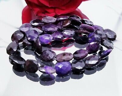 RARE NATURAL FACETED PURPLE AFRICAN SUGILITE NUGGET BEADS 10-11mm 88cts 14""