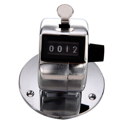 Round Base 4 Digit Manual Hand Tally Mechanical Palm Click Counter D4V3