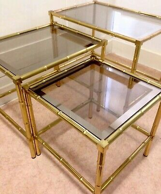 French Brass Faux Bamboo Nest Tables Mid Century Vintage Antique Maison Bagues
