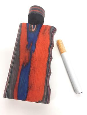 "4"" Colorful Wooden Tobacco Dugout Set with Pipe Easy Grip(3"" Metal One Hitter)"
