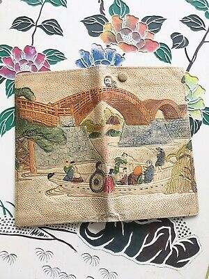 Embossed tooled leather wallet hand-painted souvenir Japanese antique vintage 6""