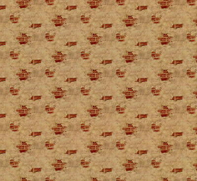 Dollhouse Wallpaper Weathered Plaster Red Half Scale