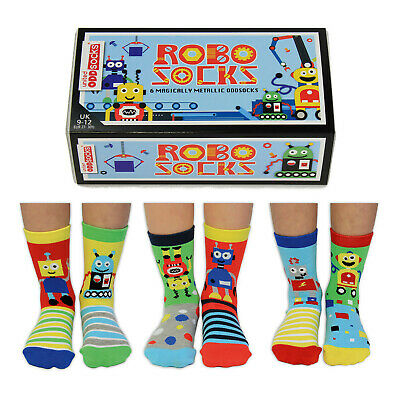 United Oddsocks Robot Inspired Socks Six Odd Socks For Girls Uk Size 9 - 12