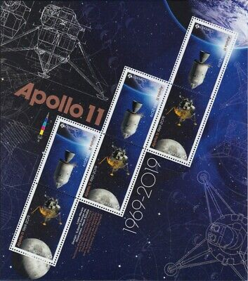 fbq. APOLLO 11 =50th= Minisheet of 6 (3 Tête-Bêche pairs) SEALED Canada 2019 MNH