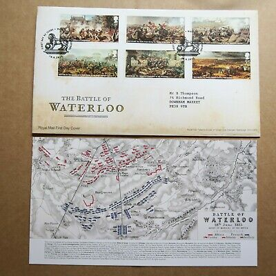 Battle of Waterloo 18.6.2015 6 stamps GB FDC Special Postmark + Insert Mint