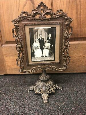 "Stunning Ornate Cast Iron Victorian Vanity Photo Frame 18 1/2"" tall Wedding"
