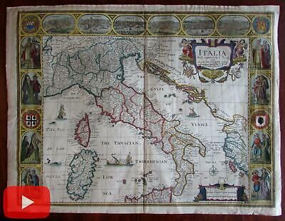 Italy Italia 1676 Speed map carte-a-figures beautiful antique map old color