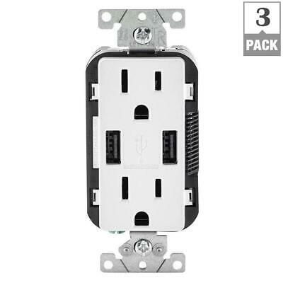 Leviton 15 Amp Decora Combination Tamper Resistant Duplex Outlet and USB 3 pack