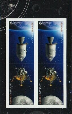 APOLLO 11 = 50th = Front Booklet page of 4 (2 Tête-Bêche Pairs) Canada 2019 MNH